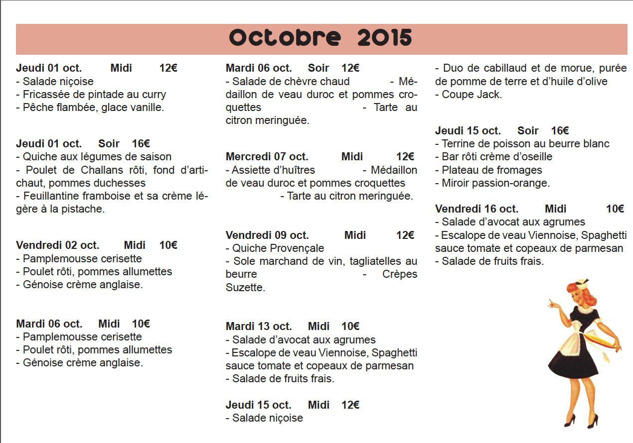 Menu des mois d'octobre et novembre
