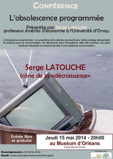 Affiche conférence LNE - Serge Latouche le 15-05-2014