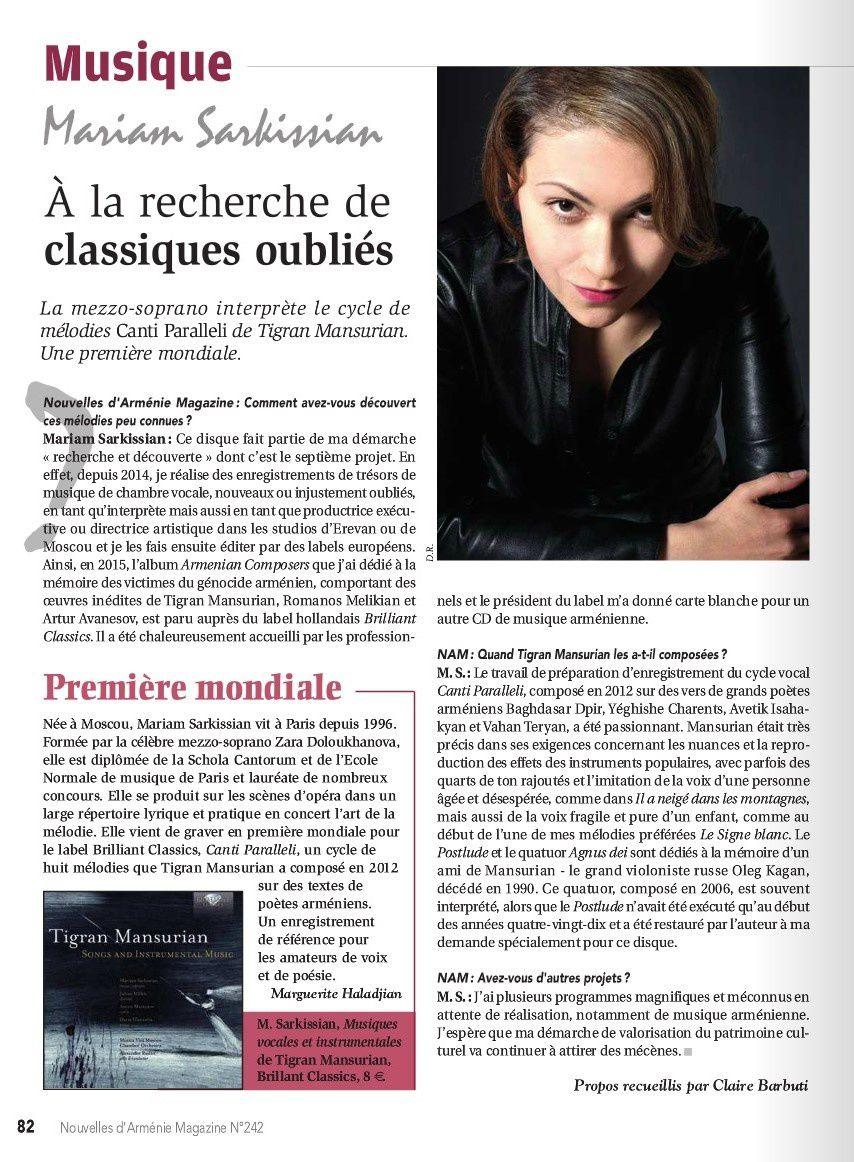 """Nouvelles d'Arménie Magazine N°242 - """"A la recherche de classiques oubliés"""" - Juillet 2017"""