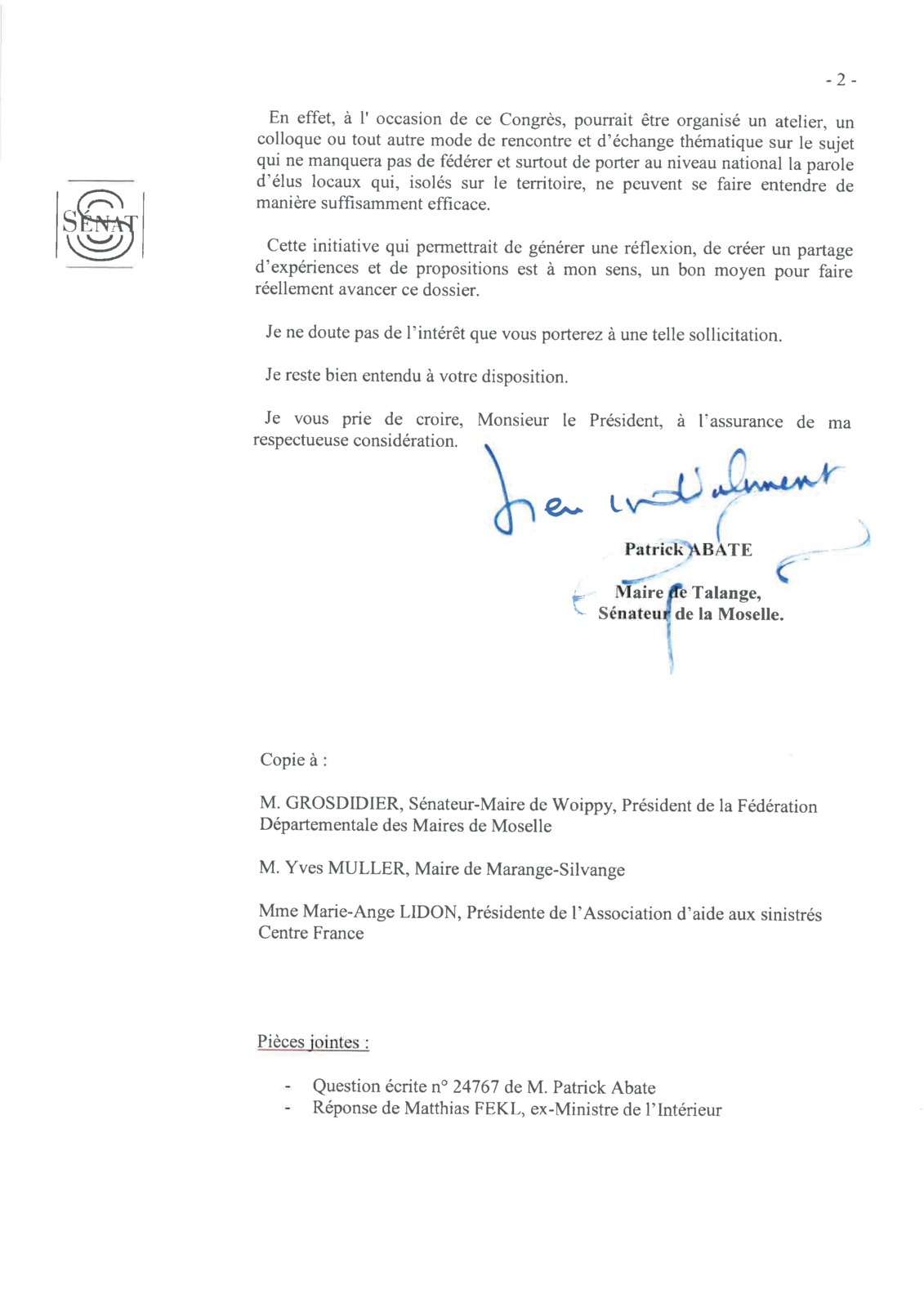 Conséquences de la sécheresse de 2015 : courriers à Gérard Collomb et François Baroin