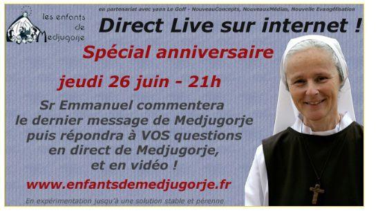 prochain direct avec Soeur Emmanuel le 26 juin