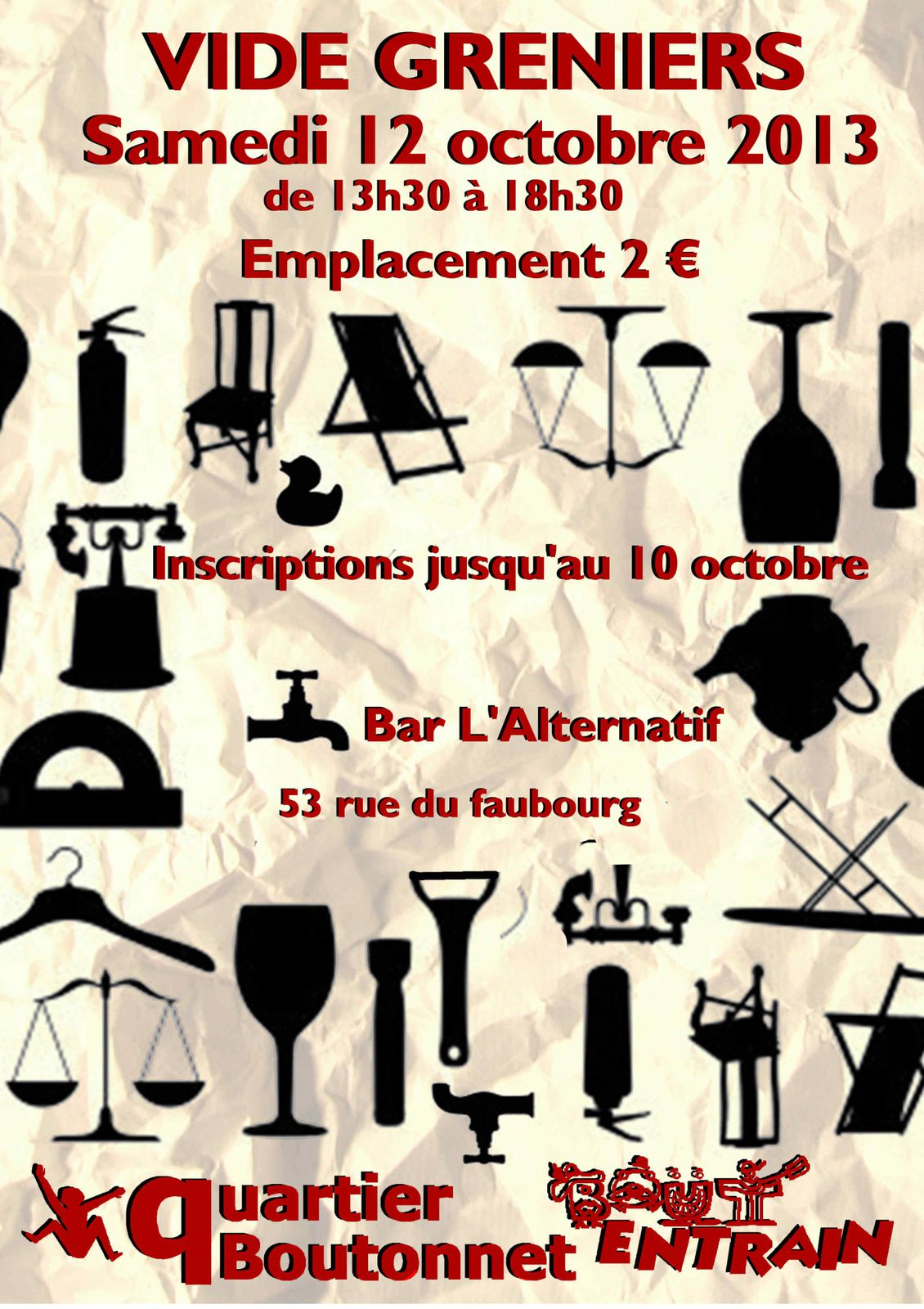 Samedi 12 octobre : VIDE-GRENIER à Boutonnet