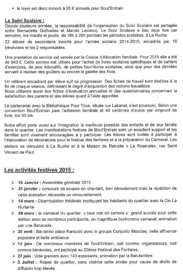 Le rapport d'activité 2015