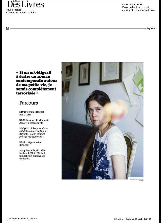 Portrait dans Le Monde des Livres