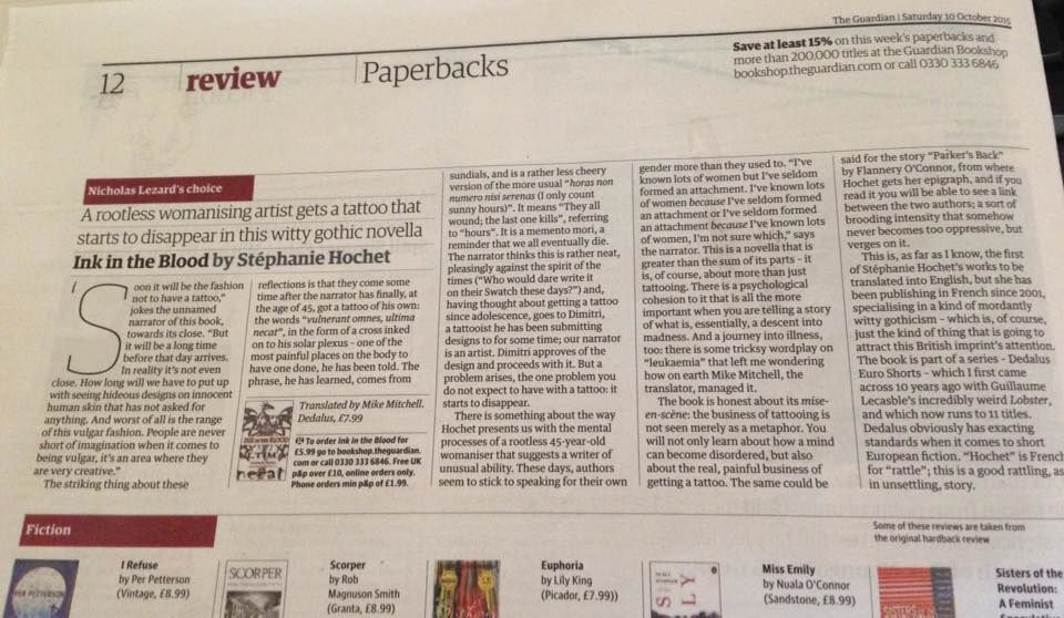 Chronique de Nicholas Lezard dans The Guardian Saturday 10 th october 2015