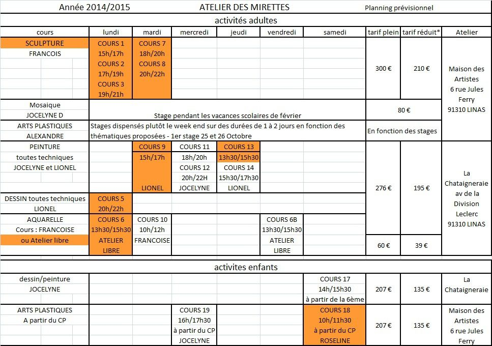 Calendrier des cours 2014 - 2015