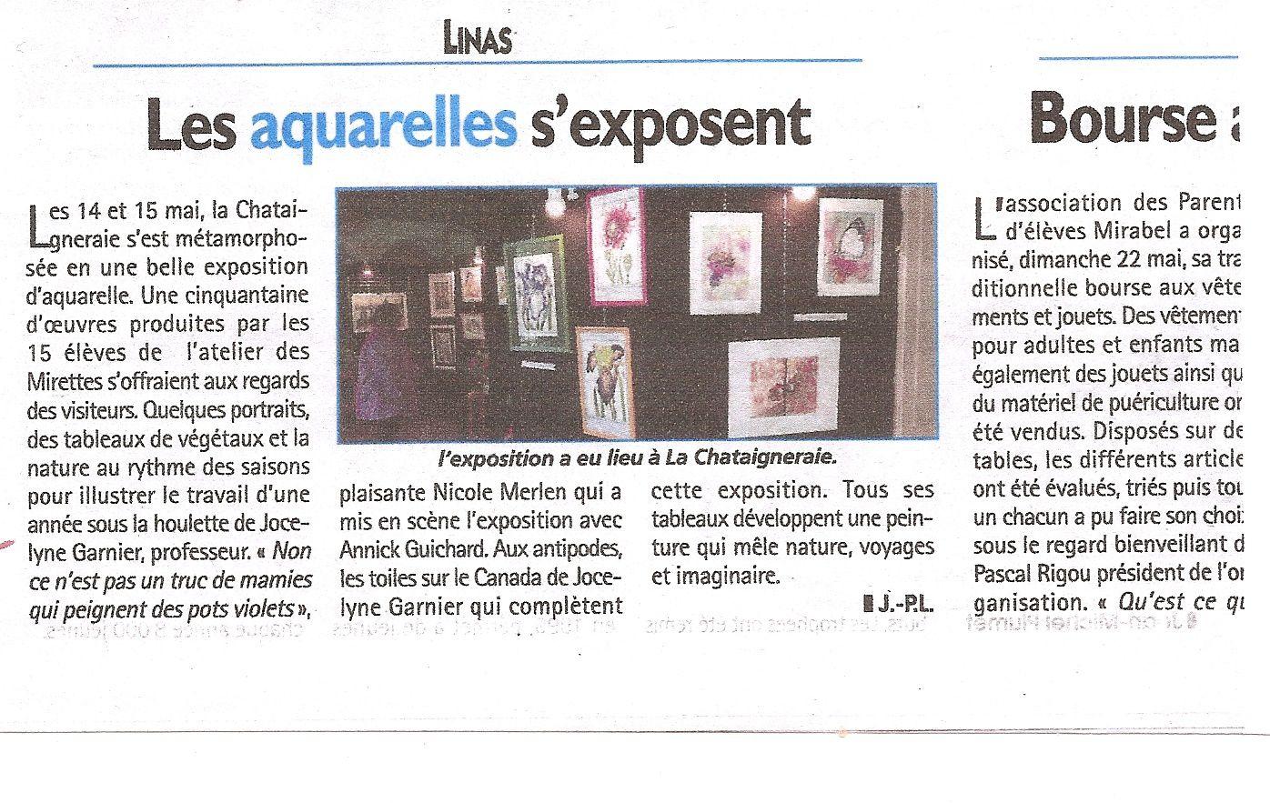 Exposition d'aquarelle des 14  et 15 Mai à Linas
