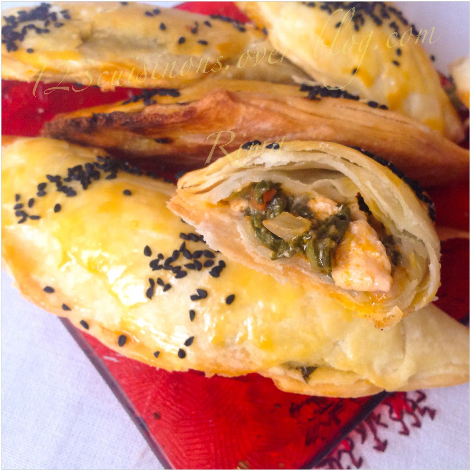 Chaussons poulet/épinards avec une pâte feuilletée express