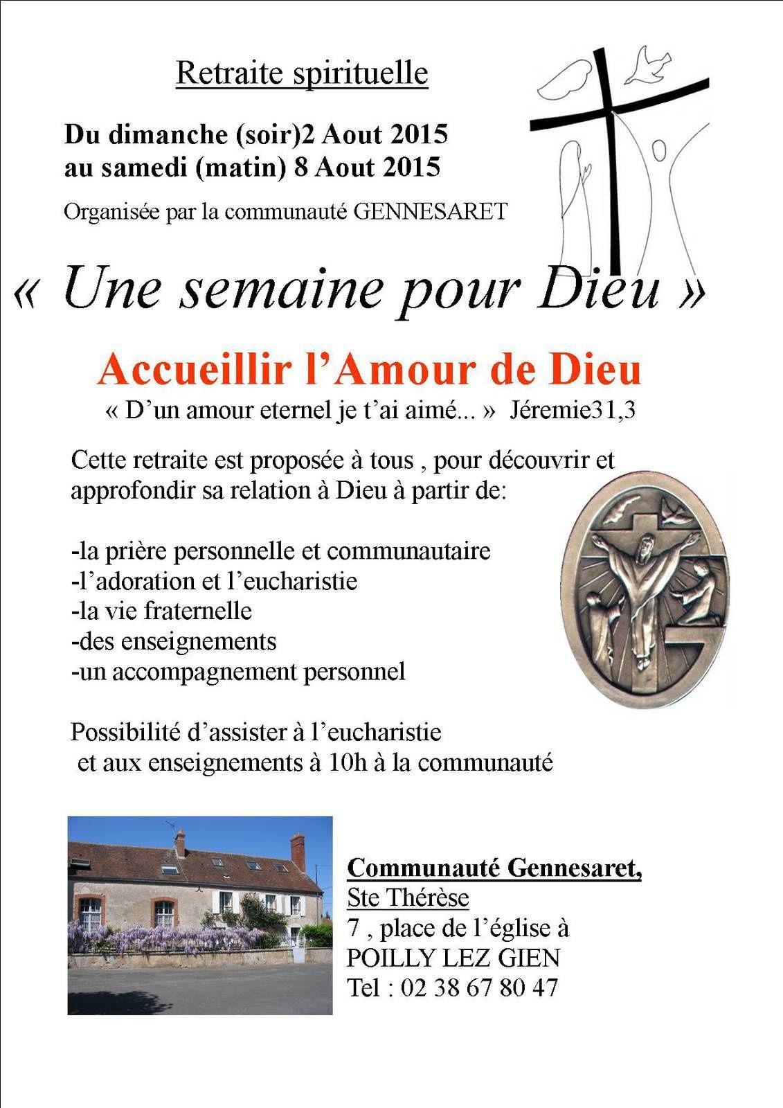 """2-8 Aout : Inscrivez-vous à """"Une semaine pour Dieu"""" à Gennesaret (Poilly)"""