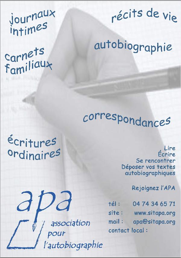 """voici l'affiche de l'""""Association pour l'autobiographie"""" mais... mieux que l'affiche, voici le site:"""