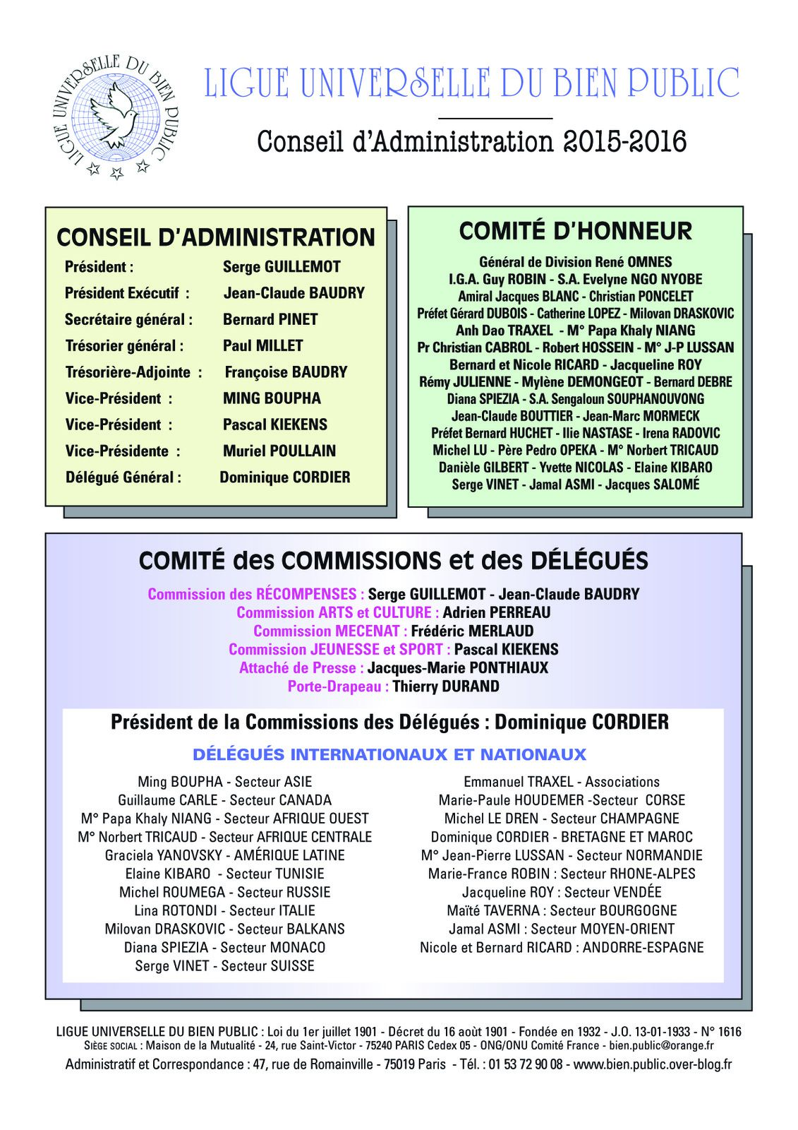CONSEIL  D'ADMINISTRATION 2015