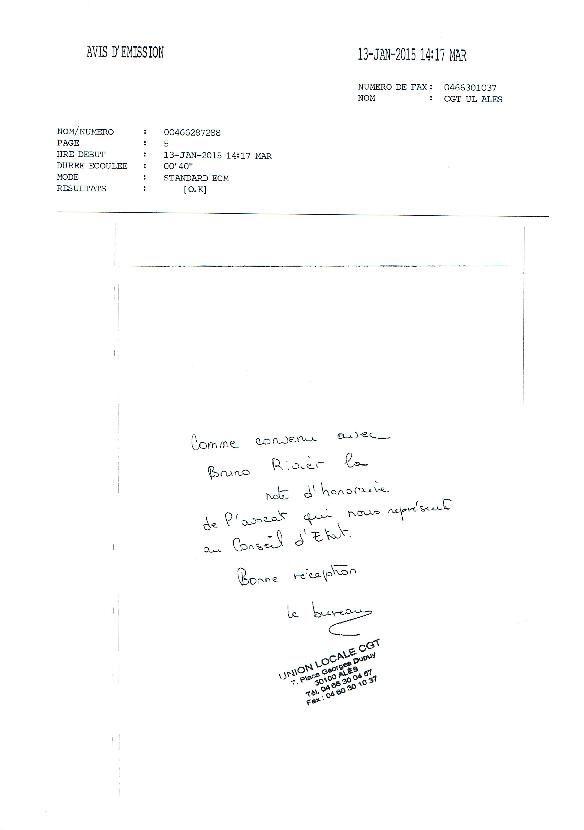 Affaire CALL EXPERT .... l'UD du GARD ..... renacle à participer aux frais d'avocats !!!!!