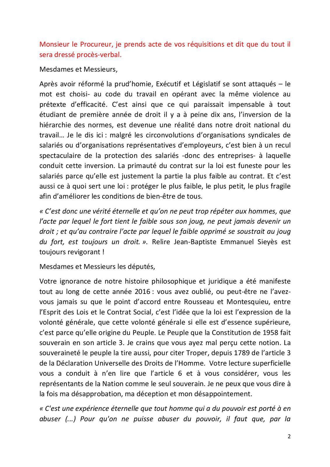 Rentrée Solennelle Conseil des Prud'hommes d'Alès le 23 janvier 2017