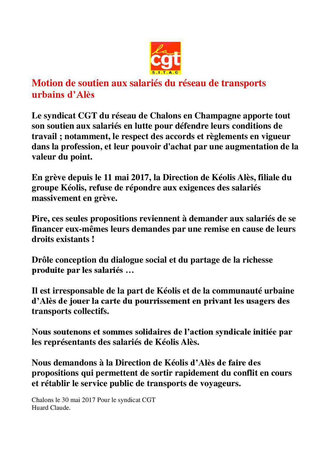 Soutiens aux chauffeurs en Grève KEOLIS-ALES