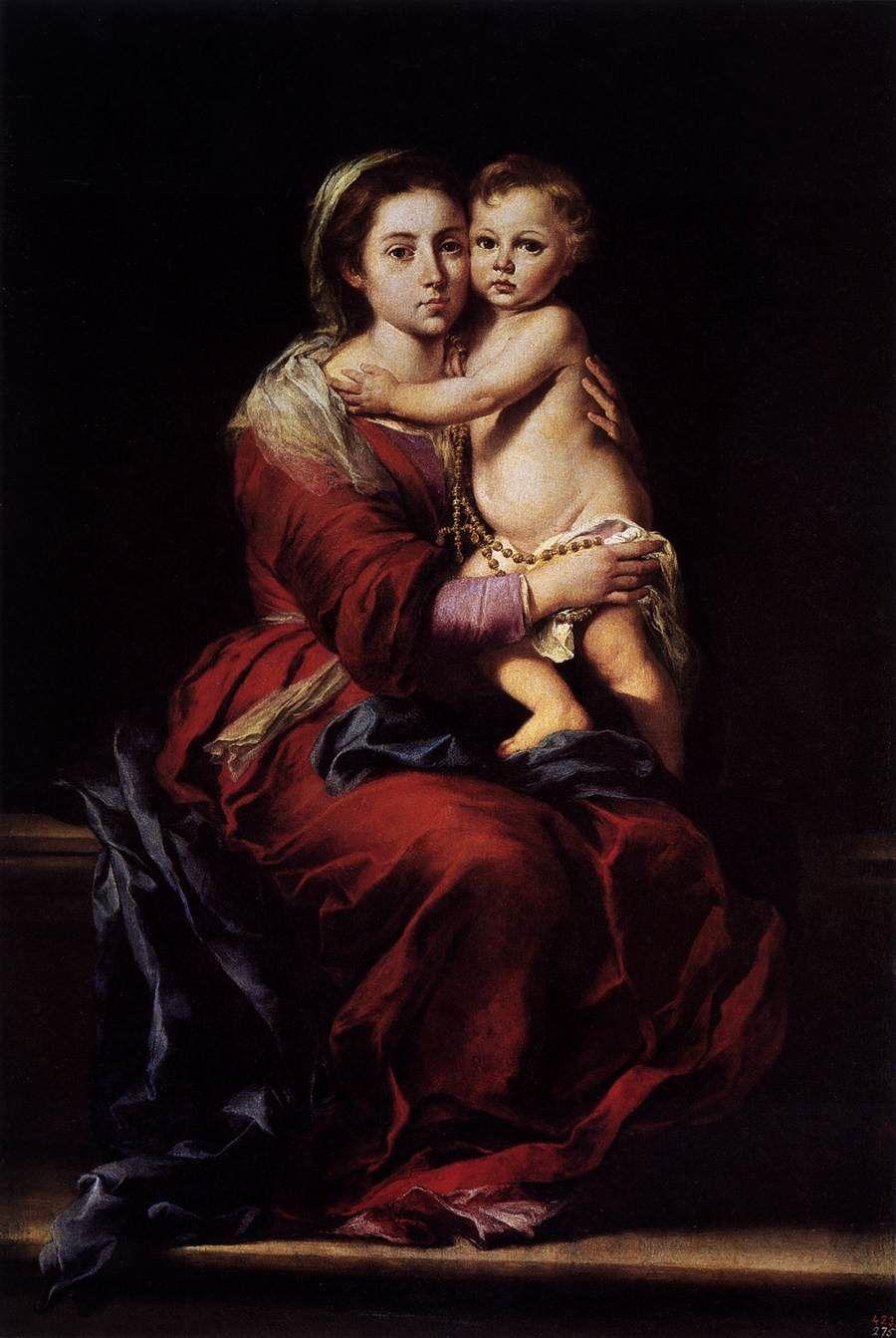 Vierge à L'Enfant avec le Rosaire, Murillo, Museo del Prado, Madrid