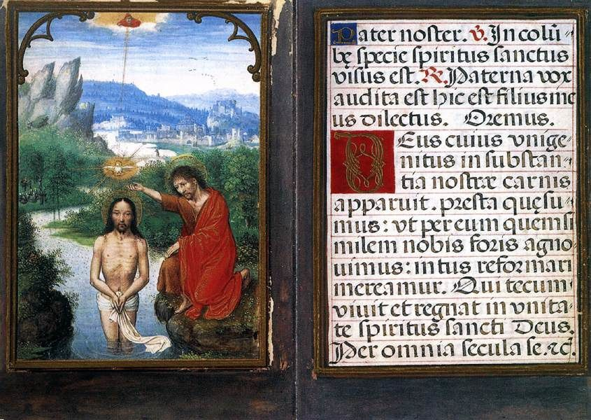 Baptême du Christ, Simon Bening, 1530, Chester Beatty Library, Dublin