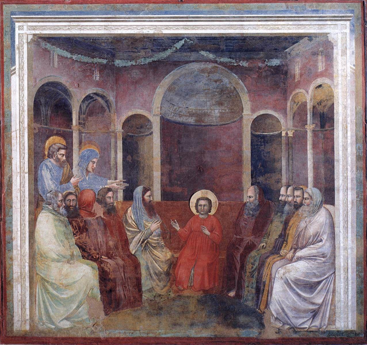 """"""" Ils le trouvèrent dans le temple, assis au milieu des docteurs, les écoutant et les interrogeant """" (peinture du Giotto)"""