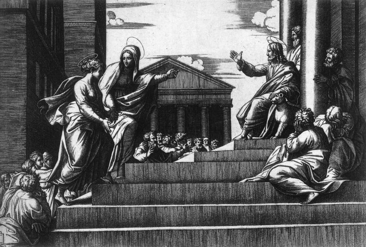 Jésus devant le Temple, Marcantonio Raimondi