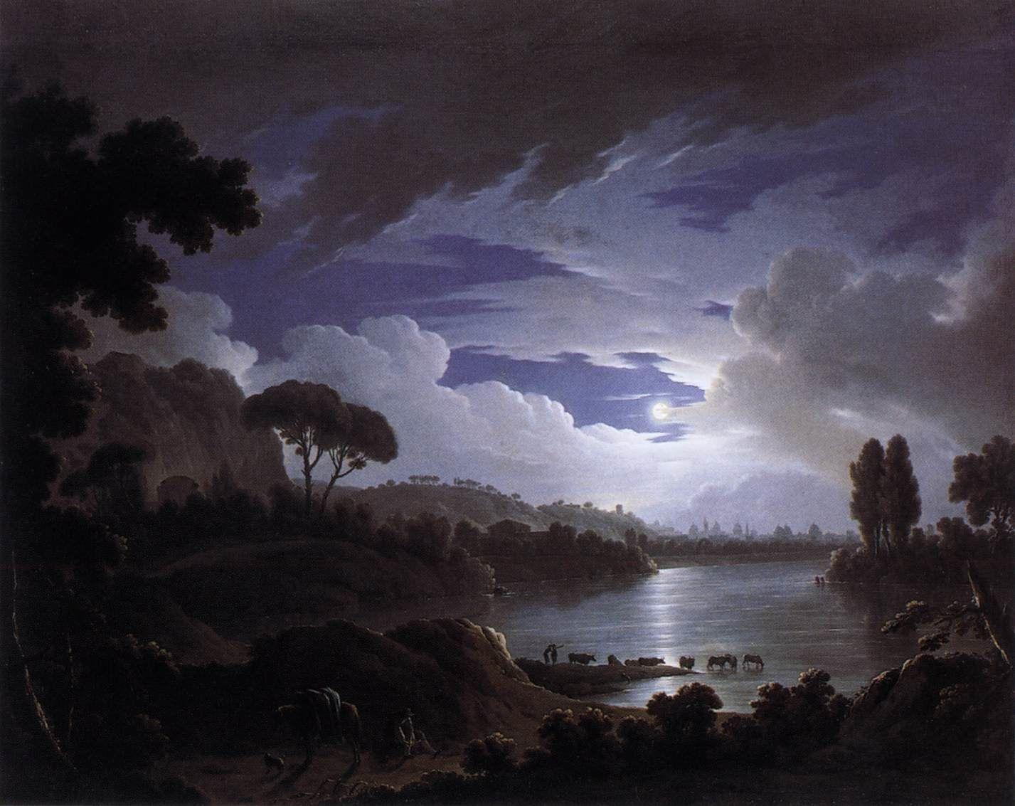 Scène éclairée par la lune sur le Tibre près de Rome, Michael Wutky (1739, Krems - 1822, Vienne)