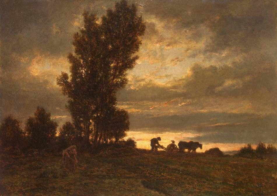Paysage avec un laboureur, Théodore Rousseau  (1812, Paris - 1867, Barbizon)