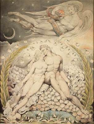 Satan Watching the Caresses of Adam and Eve, illustration to Milton's Paradise Lost, William Blake (1757 - 1827, London)