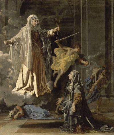 La vision de Sainte Françoise Romaine annonçant à Rome la fin de la peste, Nicolas Poussin, Musée du Louvre