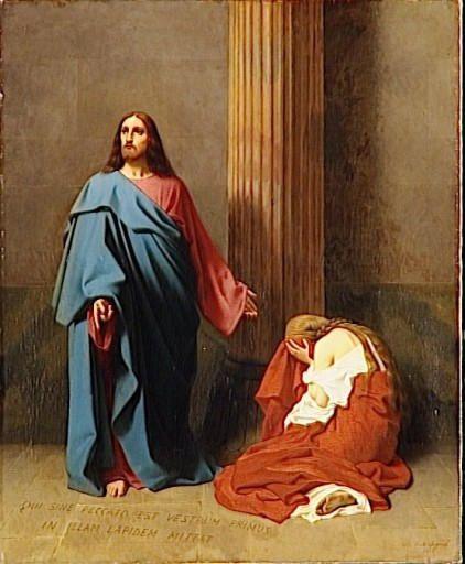 Qui sine peccato est vestrum, primus in illam lapidem mittat - Que celui d'entre vous qui est sans péché, lui jette le premier la pierre &#x3B; tableau : Le Christ et la femme adultère, Émile Signol