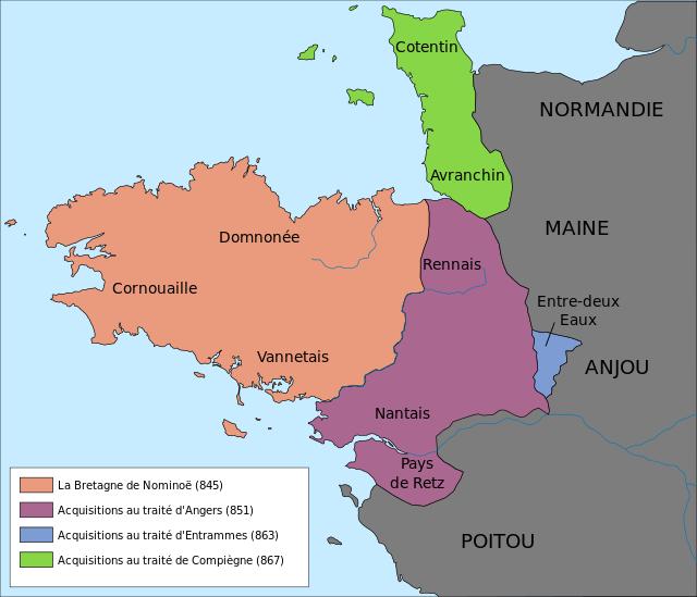 Extension maximale de la Bretagne (Orange+violet+vert+bleu)