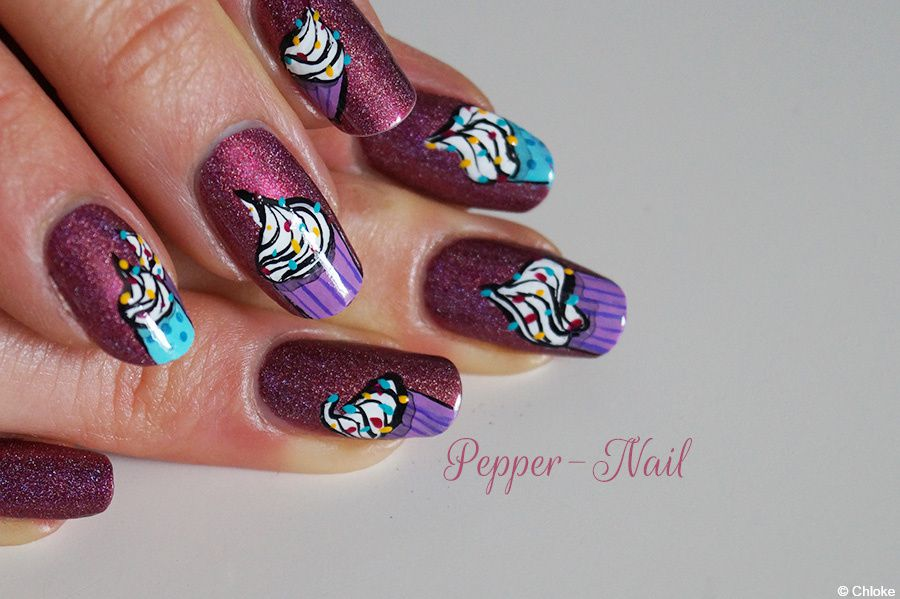 Cupcakes pétillants - Nail art