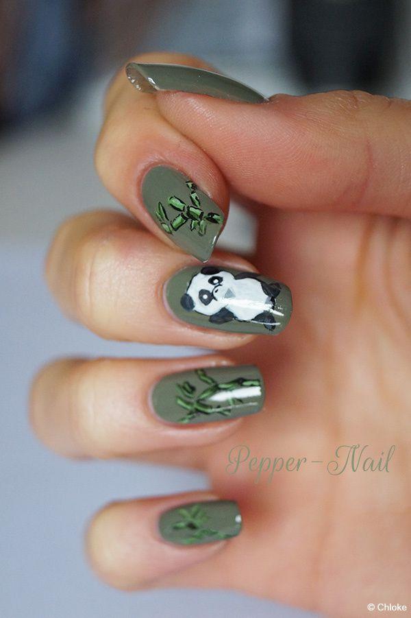 Nail art - Famille de pandas