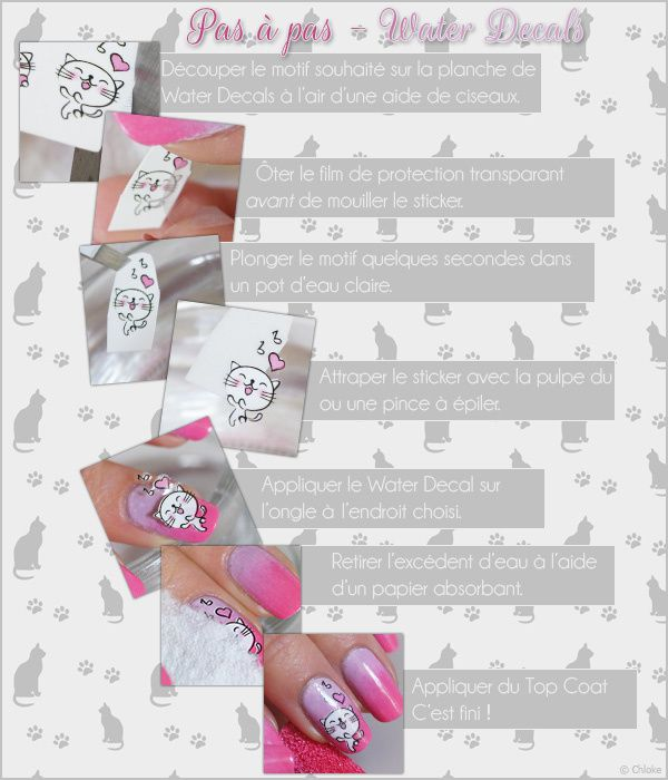 Nail art - Water decals chats + Pas à pas