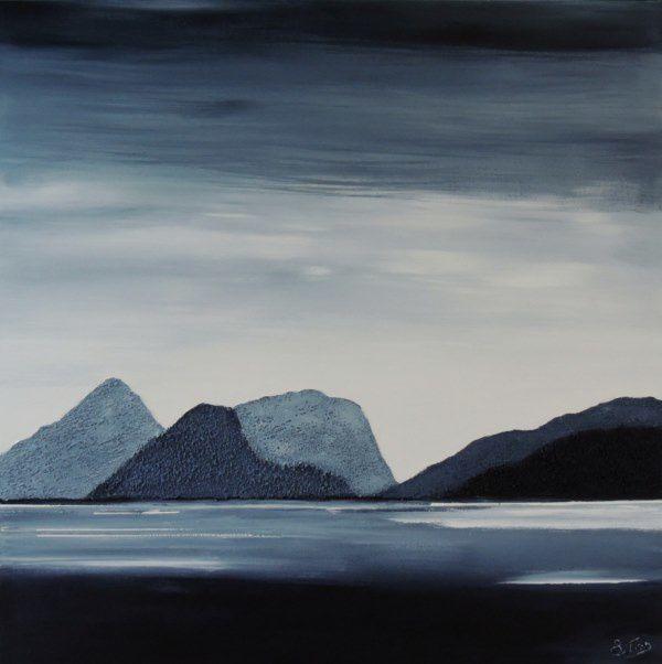 Lionel Tison - Côtes Norvégiennes en été - Acrylique 90 X 90 - Septembre 2015