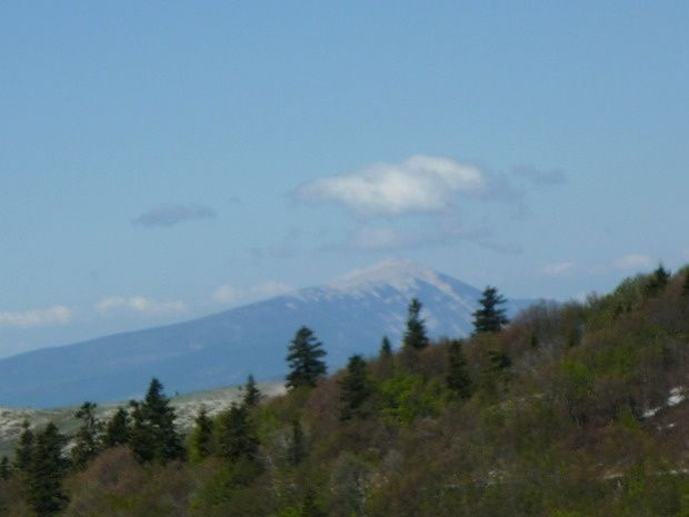 Légérement flou, le Mont-Ventoux au loin, toujours aussi impressionnant.