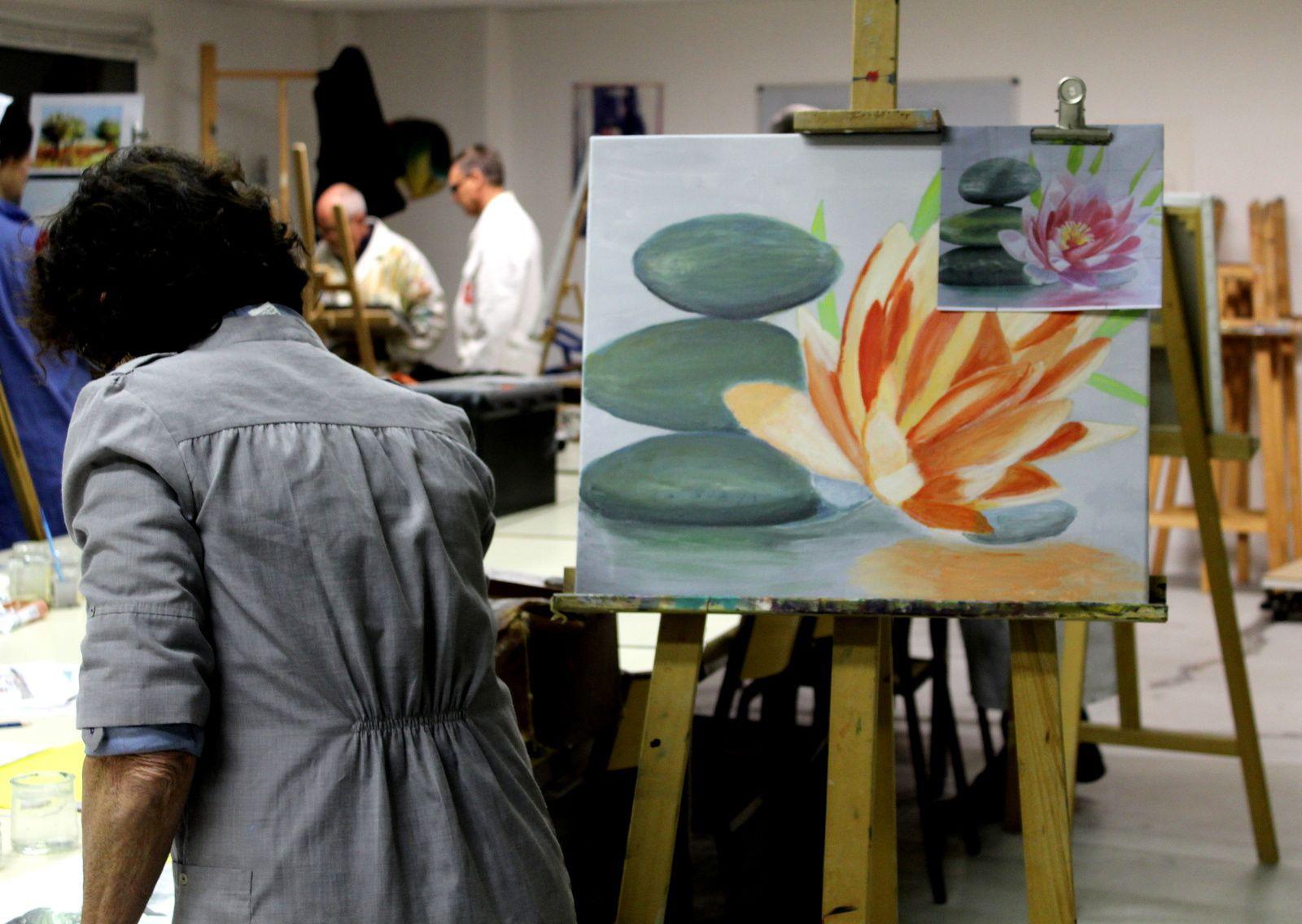 Concentration...et décontraction.... quelques tableaux de Philippe...à l'huile....bien sur...