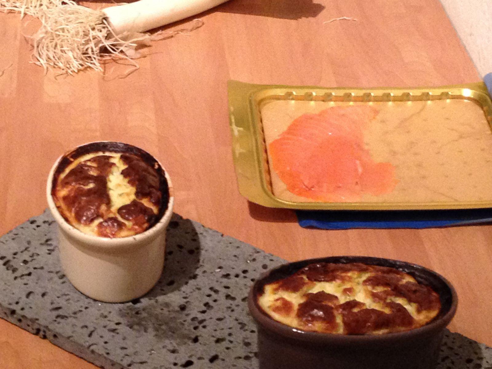 Clafoutis de saumon fumé et poireaux