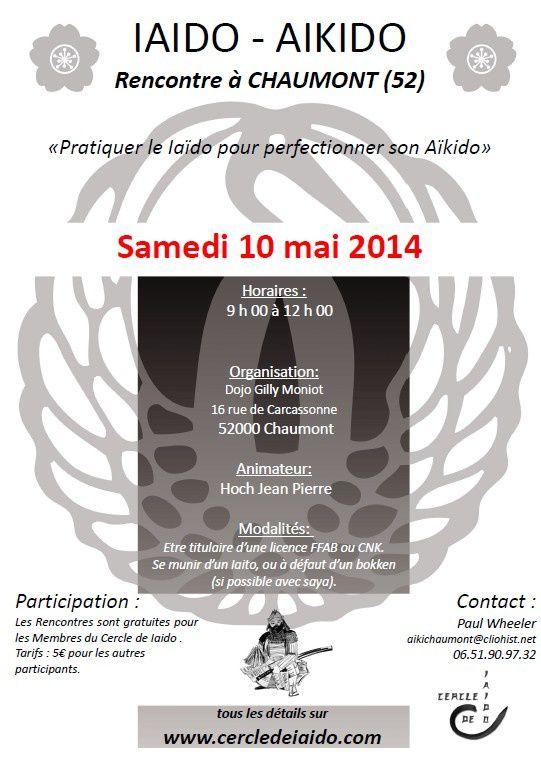 Cercle de Iaïdo : stage à Chaumont le 10 mai