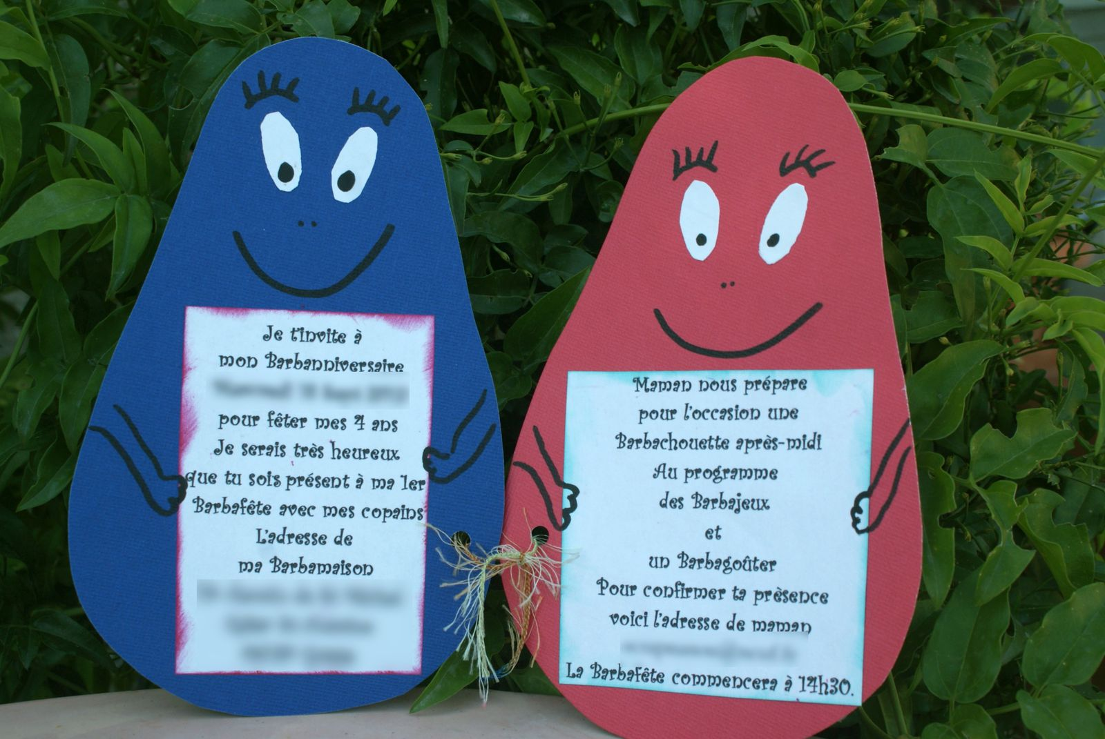 Anniversaire barbapapa  - cartes d'invitations