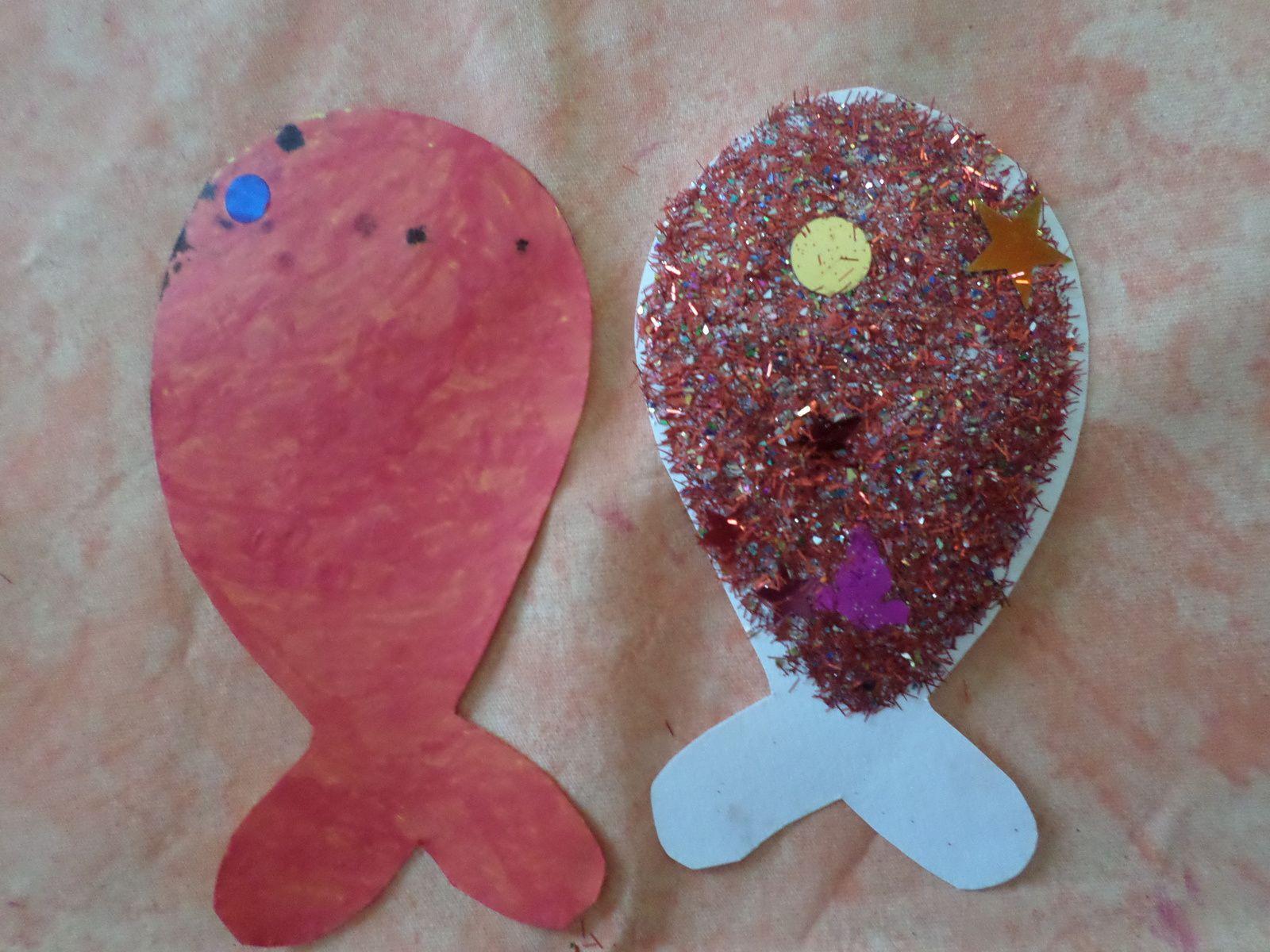 Ceux de Monsieur J ( 3 ans 1/2 ) mon loulou c'est suuper appliqué à colorier sont poisson