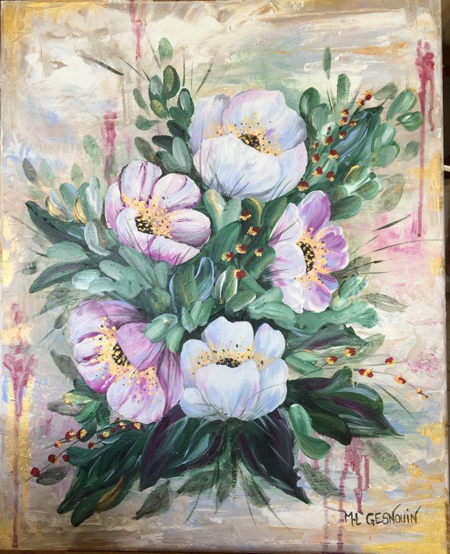 Fleurs à l'acrylique au couteau et au pinceau