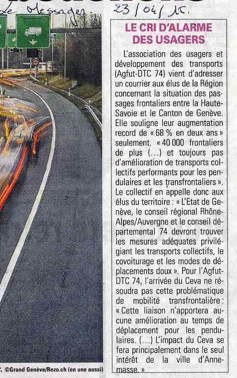 Article Le messager du 23 avril 2015 - Fréquentations des lignes des transports collectifs transfrontaliers (TCT) sur les 300 000 passages transfrontaliers jour soit 2.64% de fréquentation