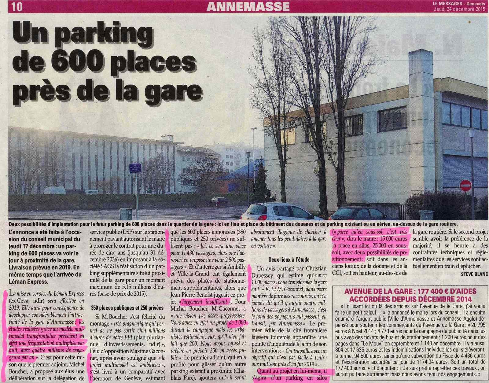 Parking 600 places Annemasse gare