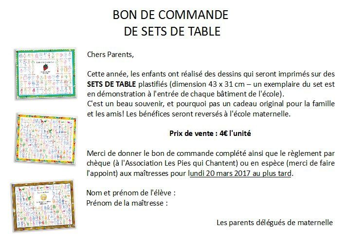 vente de sets de table plastifi s d cor s par les enfants pies. Black Bedroom Furniture Sets. Home Design Ideas