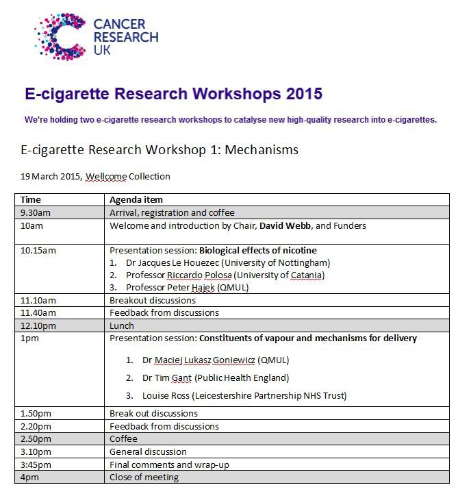 CRUK E-cigarette Research Workshop 1: Mechanisms