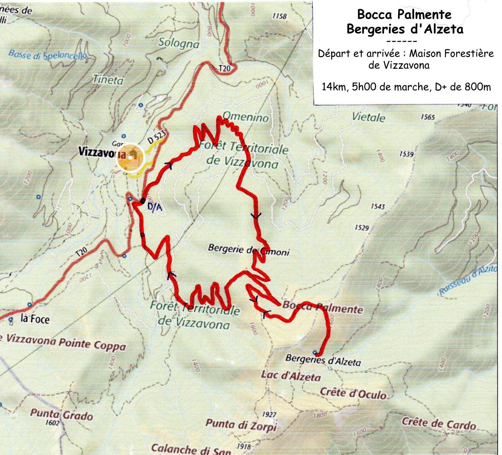Randonnée du 6 août 2017 : Vizzavona - Bocca Palmente - Bergeries d'Alzeta