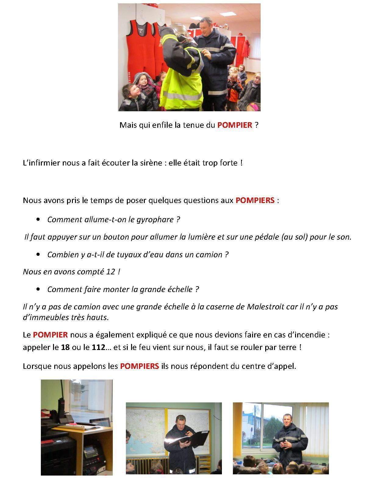 Les PS-MS racontent la sortie du 28 Janvier à la caserne des pompiers de Malestroit.