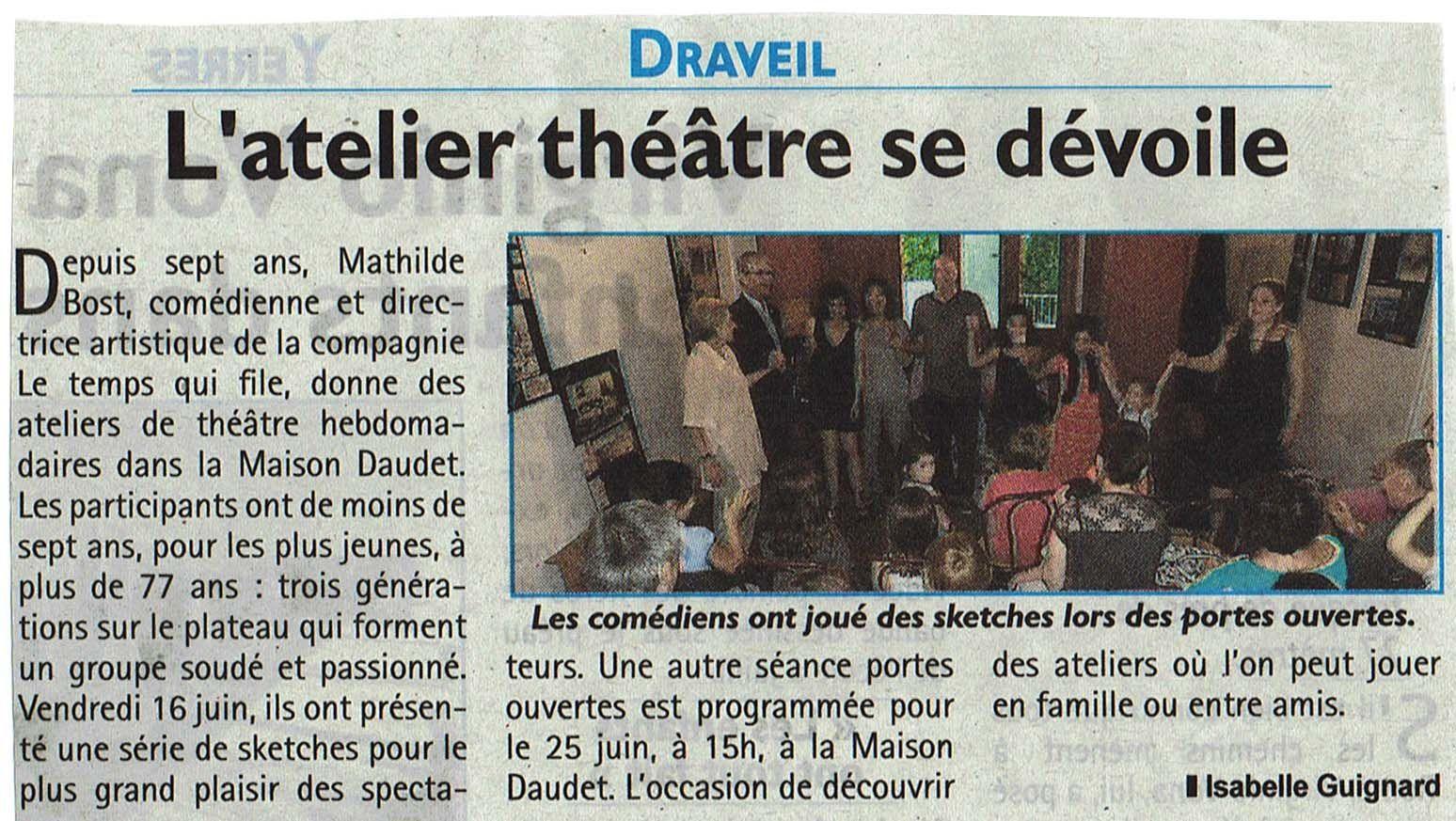 dimanche 25 juin à 15h: l'atelier théâtre vous reçoit!