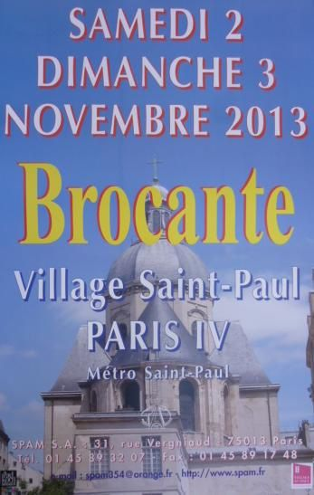 Week end brocante du samedi 2 dimanche 3 novembre 2013 au village saint paul le marais paris - Brocante a paris ce week end ...