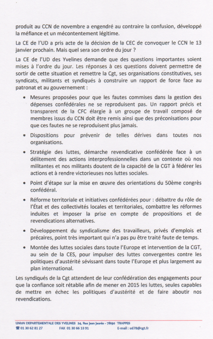 Crise dans la CGT: position de l'UD CGT des Yvelines