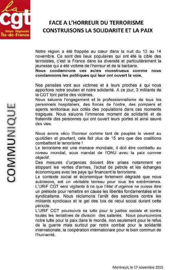 Déclaration de la CGT d'Île-de-France