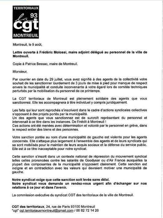 La municipalité de Montreuil (93) sanctionne la CGT